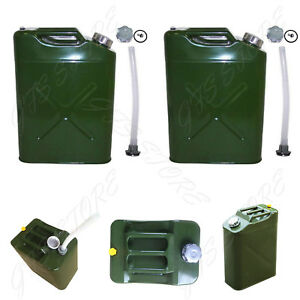2 5 Gal 20l Eu Gas Gasoline Fuel Army Jerry Can Military Metal Steel Tank Backup