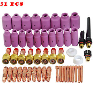 Tig Gas Lens Collet Body Head Consumables Kit Cup Stubby Welding Torch 51pcs Us