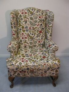 Ethan Allen Baumritter Crewel Wing Back Arm Chair All Original