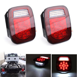 2x 39 led Red white Truck Boat Stud Mount Stop Turn Tail Backup License Lamp 12v