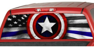 American Flag Blue Line Police Rear Window Graphic Decal Tint Suv Ute Camouflage