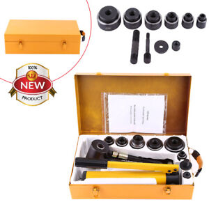 6 Dies 10 Ton Hydraulic Knockout Punch Driver Kit Hand Pump Hole Tool Cutter Set
