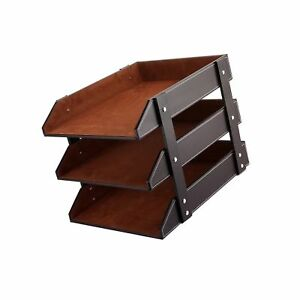 Unionbasic Pu Leather Stackable Office File Document Tray Case Rack Desk File