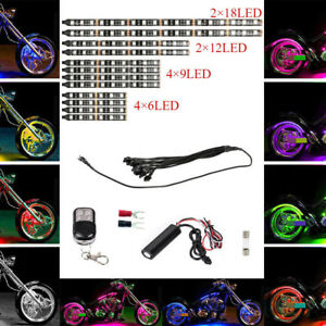 12pcs Motorcycle Multi Color Universal Rgb 15 Colors Led Light Strips Kit In Usa