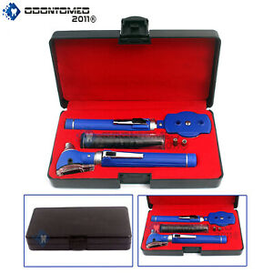 New Fiber Optic Otoscope Ophthalmoscope Examination Led Diagnostic Ent Set Blue