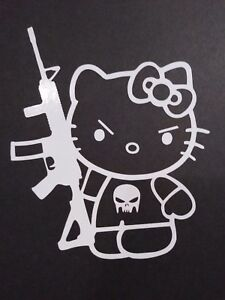 Hello Kitty Punisher Vinyl Decal For Laptop Windows Wall Car Boat