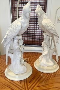 Large Pair Of Mid Century White Italian Hollywood Regency Cockatoo Lamps