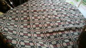 New Black Red And Taupe Throw Tablecloth Coverlet Shaker Cross 54 X 60
