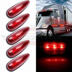 5x Red 6 Trailer Truck Lorry 3led Cab Roof Marker Clearance Lights Sealed 12v