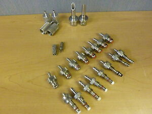 Lot Of 24 Millipore Sanitary Filter Sampling Valve Hose Barbs And Other 11809