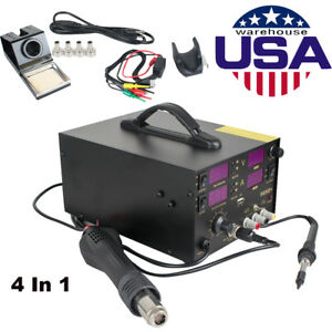 909d 4 In1 Soldering Rework Station Solder Iron Smd Hot Air Gun Usa Shipping
