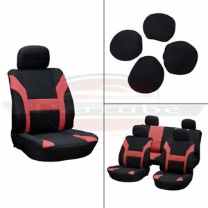 8pcs Red Black Polyester Soft Car Seat Covers W 4 Headrest Covers For Porsche