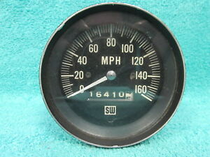 Vintage Ford Chevy Dodge Stewart Warner Blue Light 160 Mph Speedometer 1017