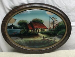 Vtg Wood Frame Reverse Painted Picture Convex Glass Cottage Country Road