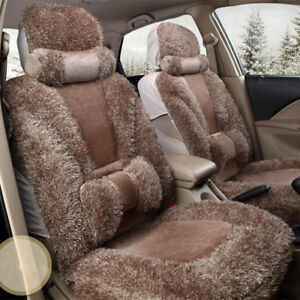 New Deluxe Plush Chair Car Seat Covers Interior Soft Pillow Accessories Full Set