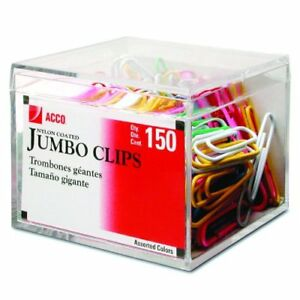 New Acco Multi Colored Nylon Coated Paper Clips Smooth Jumbo 150 Box 72520