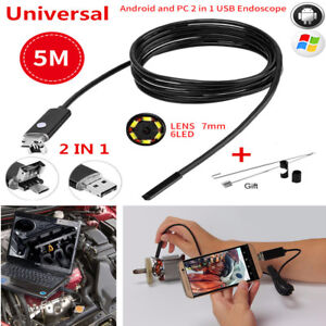 5m 7mm 2 In 1 Android Pc Hd Endoscope Snake Borescope Usb Inspection Camera Ip67