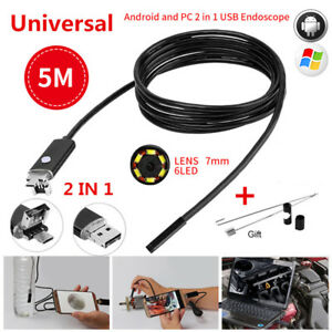 5m 7mm Android Pc Hd Endoscope Snake Borescopes 2 In 1 Usb Inspection Camera 67