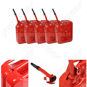 5 Pack Jerry Can 5 Gal 20l Gas Gasoline Fuel Army Nato Military Metal Steel Tank