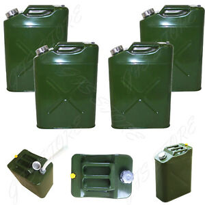 4 Pack 5 Gal 20l Eu Gas Gasoline Fuel Army Jerry Can Military Metal Steel Tank