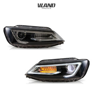 Headlights For 2011 2018 Volkswagen Jetta Led Projector Headlights Black Housing