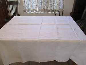 Antique Linen Damask Tablecloth Fall Floral Design 83 By 71