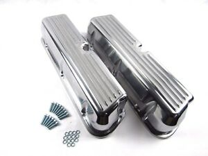 Sb Ford 289 302 351 Polished Aluminum Finned Valve Covers No Hole Bpe 2201