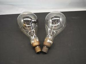Pair Of Vintage Industrial Antique Large Light Bulbs Edison Brass Free Shipping