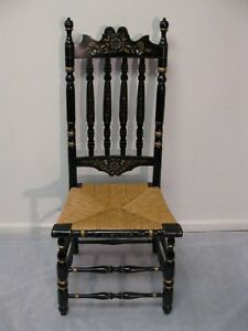 Early Ethan Allen Decorated Rush Seat Bannister Chair