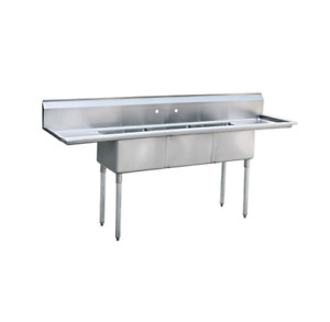 3 Three Compartment Commercial Stainless Steel Sink 90 l X 24 w