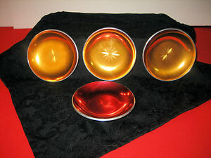 4 Mcm Design Olden Norway 1 Red 3 Gold Enameled Aluminun Coasters Pin Dish Trays
