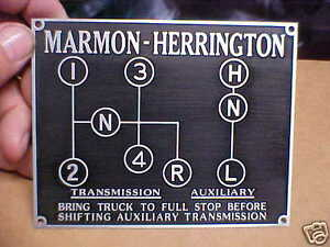 Marmon Herrington Shift Pattern Plate Acid Etched Aluminum