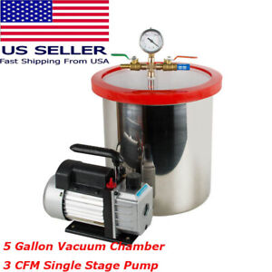 5 Gallon Stainless Steel Vacuum Chamber Kit W 3cfm Single Stage Pump Low Noise