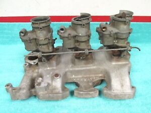 Vintage 1957 58 Oldsmobile 371 Tri Power Intake Manifold With Carburetors 1117