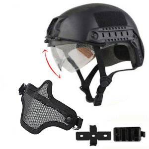Military Tactical Airsoft Paintball SWAT Protective FAST Helmet w Goggle Gloves
