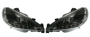 Clear Black Headlights With Daytime Running Lights For Peugeot 206 Cc Sw