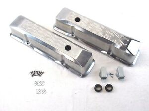 Small Block Chevy Tall Flamed Polished Aluminum Valve Covers Bpe 2015
