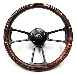 Ford Falcon Steering Wheel Real Wood Brass Rivets W billet Ford Horn Button