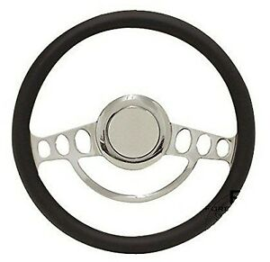 Hot Rod Street Rod Rat Rod With Aftermarket Column Chrome Black Steering Wheel