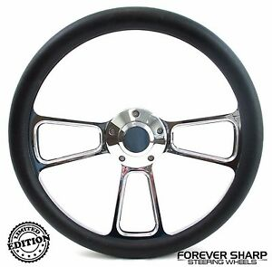 14 Chrome Aluminum Steering Wheel W Black Wrap 1970 87 Dodge Van Pickup Dart
