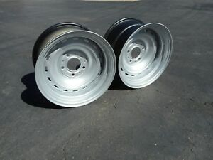 2 73 87 Chevy Gmc Truck 2wd 15x8 Rally Wheels 5 Lug On 5 Inch Circle Pair Ralley