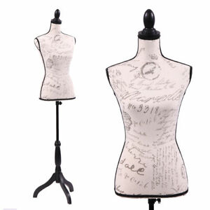 Mannequin Torso Female Dress Form Display W Black Tripod Stand Designer Pattern