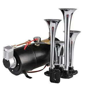 Free Shippinf Car Truck Black Silver 4 trumpet Super Loud Air Horn Compact Kit