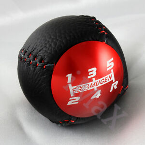Mugen Leather Red Shift Knob 5 Speed For Honda Cr z Civic Accord S2000 Fa5 Fd2