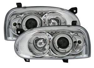 Clear Chrome Finish Angel Eyes Headlights Front Lights For Vw Golf 3 Iii 91 97