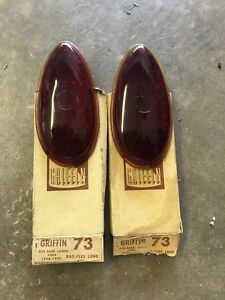 Pair Nos Griffin No 73 Glass Tail Light Lens Lenses 1938 39 Ford Hot Rat Rod