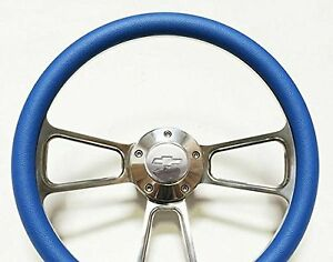 Blue Steering Wheel 14 Billet Muscle Style Wheel With Chevy Horn