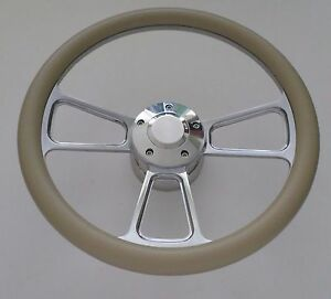 Khaki Half Wrap 14 Billet Steering Wheel Kit With Hub Adaptor Horn Button