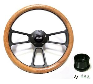 New World Motoring Nova Real Wood Steering Wheel W Black Ss Horn