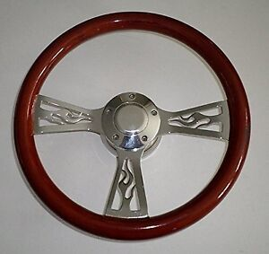 14 Mahogany Wood Flame Spoke Steering Wheel Kit With Horn Button